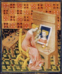 "15th century illustration from Giovanni Boccaccio's De Mulieribus Claris. In the collection of the Bibliothèque nationale de France. ""Thamar peignant"", d'après le ""De claris mulieribus"" - 1402"
