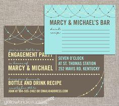 My FAVE!   Love the recipe idea.  Stock the bar party invitation and drink recipe card - DIY printable by YellowBrickStudio. $20.00, via Etsy.