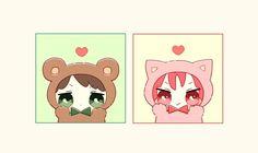 Bear and cat doll ...   From nrmimi_ ... Free! - Iwatobi Swim Club, free!, iwatobi, rin matsuoka, matsuoka, rin, sousuke, yamazaki, sousuke yamazaki, doll