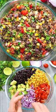 This Mexican-style Quinoa Salad is loaded with black beans, corn, tomatoes, avocados, red onion, and cilantro. Simple, healthy, and incredibly delicious, you'll want to make it over and over again! FOLLOW Cooktoria for more deliciousness! #salad #quinoa #lunch #vegan #vegetarian #plantbased #healthyrecipe #cooktoria Easy Healthy Dinners, Healthy Salad Recipes, Healthy Snacks, Dinner Healthy, High Protein Vegan Meals, Simple Salad Recipes, Healthy Camping Meals, Easy Healthy Lunch Ideas, Easy Vegan Recipes