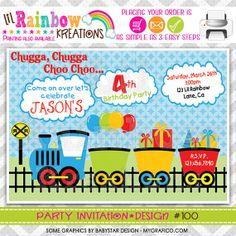 100 DIY  Choo Choo Train 2 Party Invitation Or by LilRbwKreations, $10.00