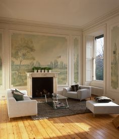 Aldsworth Faded mural wallpaper by Susan Harter Muralpapers Living Room Murals, Wall Murals, French Living Rooms, Decorative Mouldings, Of Wallpaper, Scenic Wallpaper, Best Living Room Wallpaper, Custom Wallpaper, Designer Wallpaper