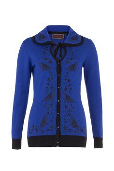 741aa885451 Voodoo Vixen Edwina Bird Embroidery Dita Cardigan Blue Vintage Pinup New
