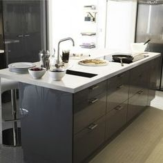 akurum kitchen with high gloss grey abstrakt by ikea I really