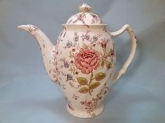 Vintage English Rose Chintz Tea Pot / Coffee by PrettyVintageHome