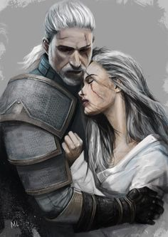 """""""Geralt & Ciri"""" This pic kinda makes them look like lovers which is a little creepy but it shows their bond so I'm pinning anyway... By Alexander K."""