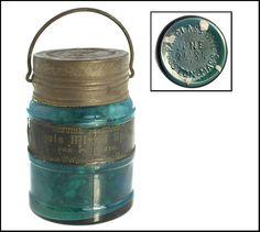 Probuct Jar, GLASS PAIL / JUNE / 24, 84 / BOSTON, MASS. teal blue Antique Bottles, Bottles And Jars, Antique Glass, Glass Bottles, Ball Canning Jars, Ball Mason Jars, Manson Jar, Storage Jars, Glass Insulators