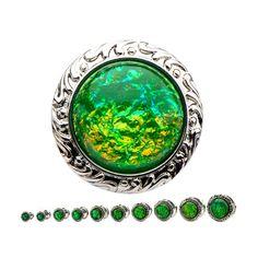 Silver Emerald Maleficent Pendant Plugs (PAIR)