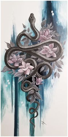 Black snake painting *AVAILABLE* Black mamba snake with flowers and abstract bac. - Black snake painting *AVAILABLE* Black mamba snake with flowers and abstract background acrylic pai - Snake Painting, Snake Drawing, Snake Art, Pour Painting, Tatoo Art, Body Art Tattoos, Tattoo Drawings, Art Drawings, Tatoo Snake