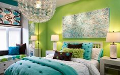 Pink and Lime Green Bedroom | chocolate turquoise and lime inexperienced were combined for this ...