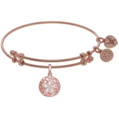 7.25 Adjustable Pink Finish Brass CZ Sand Dollar Charm Angelica Bangle... ($32) ❤ liked on Polyvore featuring jewelry, bracelets, charm bracelet bangle, brass bangle bracelet, hinged bangle, cz jewellery and bangle bracelet