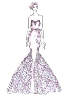 how to draw ruffled dresses designer runway sketches