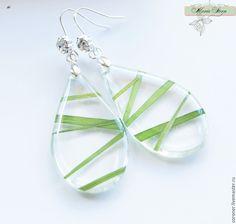 """Купить Серьги """"ICE №1"""" из ювелирной эпоксидной смолы - зеленый, прозрачные серьги"""