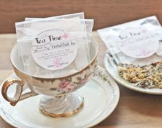 Tea Party Favors - Herbal BATH Tea Bags- Set of 15 - Tea Time in the Tub -  Natural & Soothing Favors