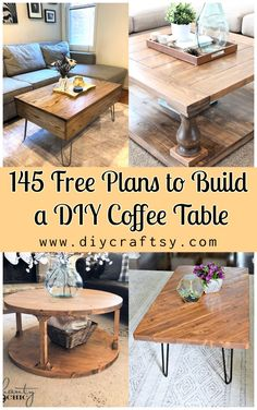 Learn how to DIY coffee table? Check our 150 free DIY coffee table plans to build a handmade furniture piece for your living room, farmhouse & outdoor! #diycoffeetable #coffeetable #diyfurniture Handmade Furniture, Diy Furniture, Antique Furniture, Diy Coffee Table Plans, Coffee Tables, Wooden Living Room Furniture, Diy Cornhole Boards, Diy Pallet Projects, Diy Table