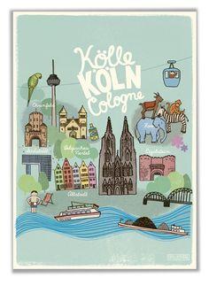 Kinderposter Köln für Kinderzimmer Kindergarten Schule Städteposter Köln Souvenir: Amazon.de: Baby