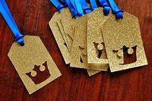 Glitter Royal Prince Baby Shower Party Favor etiquetas etiqueta del regalo de boda de la fiesta de cumpleaños deseando colgante tarjetas suministros de paquetes(China (Mainland))