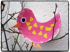 oiseau coeur, bricolage enfant, assiette en carton