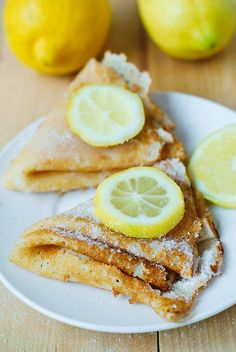 Lemon sugar dessert crepes - wonderful! They're great with breakfast if you want something a little sweet but not too heavy.