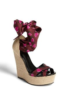 Cute love heart print on this Gucci espadrille wedge./Dorothy Johnson