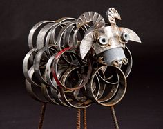 Woolly Sheep Scrap Metal Sculpture by IronMaidArt on Etsy Junkyard Dog, Scrap Metal Art, Recycled Art, Sheep, Iron, Sculpture, Maid, Unique Jewelry, Creative