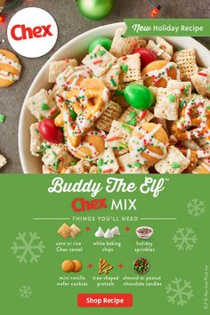 The best way to spread holiday cheer is hosting a movie night with Chex Mix near. Vanilla coated Chex clusters mini wafers pretzels and chocolate candies make up this festive sweet and salty treat. Easy Holiday Recipes, Holiday Snacks, Christmas Snacks, Christmas Candy, Christmas Chex Mix, Christmas Cookies, Christmas Recipes, Christmas Crafts, Christmas Decorations