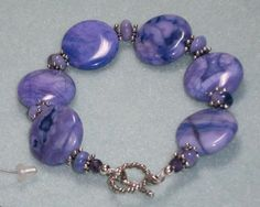 925 Sterling Silver Purple Jasper    Faceted Amethyst Beaded Bracelet 7 1/2 Long