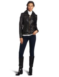MICHAEL Michael Kors Women`s Leather Zip-Front Jacket
