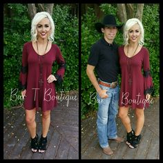 Burgundy Lace Bell Sleeve Dress ~ Follow @bar_t_boutique on Instagram for Weekly New Arrivals