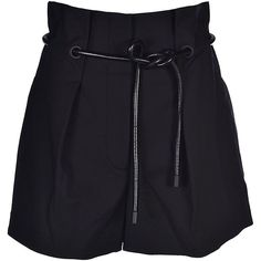 Pleated Shorts (20,685 INR) ❤ liked on Polyvore featuring shorts, bottoms, black, drawstring shorts, short shorts, 3.1 phillip lim shorts, draw string shorts and pleated shorts