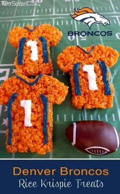 These Denver Broncos Rice Krispie Treats Team Jerseys are a fun dessert for a game day football party, an NFL playoff party, a Super Bowl party food or as a special snack for the Denver Broncos fans in your life. Denver Broncos, Broncos Fans, Football Treats, Football Food, Football Parties, Football Birthday, Birthday Games, Bronco Football, Panther Football