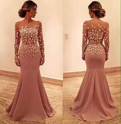 fcd6569a9ad98 Sereia nude Evening Dresses With Sleeves