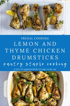 An elegant variation for an inexpensive meal. Lemon and thyme chicken drumsticks are a budget-friendly dish that is easy to make and delicious to eat. #frugalfood Frugal Recipes, Healthy Recipes On A Budget, Frugal Meals, Budget Meals, Inexpensive Meals, Cheap Dinners, Homemade Chips, Chicken Drumsticks, Marinated Chicken