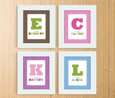 So Cute! 8x10 Customized Letter and Name Print by TMCreativePrints on Etsy