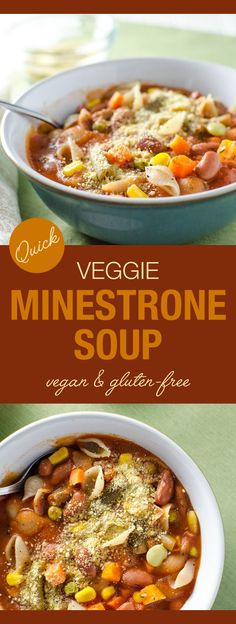 Quick Veggie Minestrone Soup - This thick, hearty, vegan and gluten-free soup can be made in less than 30 minutes with ingredients that are easy to keep on hand | VeggiePrimer.com