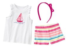 Size 8 Gymboree HOP 'n' ROLL Sailboat Outfit Top,Shorts,headband   Available at http://stores.ebay.com/Star-Baby-Designs-Home-Store  Facebook Album https://www.facebook.com/StarBabyDesigns/photos_stream?tab=photos_albums