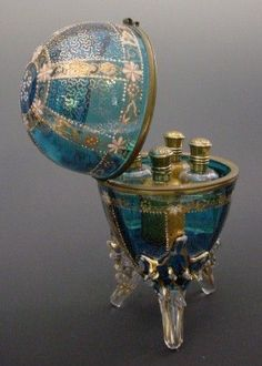"Antique Moser Scent Casket ""Four Scent Bottles"""