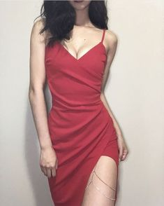 red dress spaghetti straps wrap formal outfits red dress prom clothes korean fashion spring summer autumn winter street occasion aesthetic soft minimalistic kawaii cute g e o r g i a n a : c l o t h e s Dress Outfits, Fashion Dresses, Dress Up, Cute Outfits, Bodycon Dress, Dress Prom, Slit Dress, Fashion Clothes, Fashion Music
