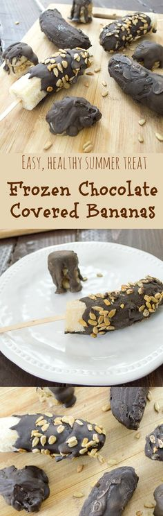 Ice cold frozen bananas covered in a luscious chocolate shell. This is the perfect summer treat! Vegan, clean eats.