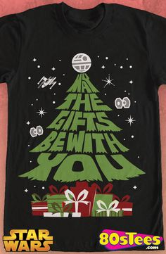 Star Wars May The Gifts Be With You T-Shirt: Star Wars Mens T-Shirt The design and illustration brings a bit of holiday to men's fashions. It will take you to Mr. Popularity or maybe even film celebrity status.