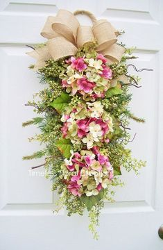 This Hydrangea Wreath Swag~ Spring Blossoms ~ Door decoration~Timeless Floral Creations is just one of the custom, handmade pieces you'll find in our wreaths shops.Say hello to spring with a cheery hydrangea swag. Easter Wreaths, Fall Wreaths, Christmas Wreaths, Wreath Crafts, Diy Wreath, Wreath Ideas, Wreaths For Front Door, Front Door Decor, Front Doors