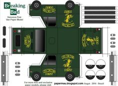 Breaking Bad - Vamonos Pest Van Paper Model - by Papermau Download Now! - == -  Here is the Vamonos Pest Van, from Breaking Bad tv series. This an easy-to-build paper model with detached bumps, in only one sheet of paper. Download easily directly from Google Docs.