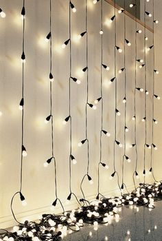 Christmas lights behind thin (dollar tree store) black trash bags for star wall mood lighting or just in a dark room for star lighting