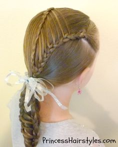 "cool ponytail hairstyles for medium hair for gymnasts | This ""stripe braid ponytail"" is a variation of a hairstyle we posted ..."