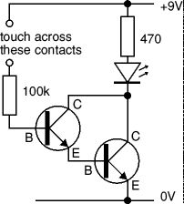 Touch switch circuit using Darlington pair - NOT CAPACITVE - A Darlington pair is sufficiently sensitive to respond to the small current passed by your skin and it can be used to make a touch-switch as shown in the diagram.