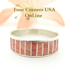Four Corners USA Online - Size 9 1/4 Red Spiny Oyster Inlay Band Ring Native American Ella Cowboy Silver Jewelry WB-1525, $121.00 (http://stores.fourcornersusaonline.com/size-9-1-4-red-spiny-oyster-inlay-band-ring-native-american-ella-cowboy-silver-jewelry-wb-1525/)