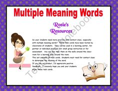 Multiple Meaning Words Task Cards product from Rosies-Resources on TeachersNotebook.com