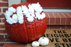 """Easy DIY Floral Thanksgiving Pumpkin """"Give"""" #craft #fall"""