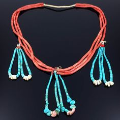 OLD SANTO DOMINGO MULTI STRAND RED CORAL & TURQUOISE HEISHI BEAD JACLA NECKLACE