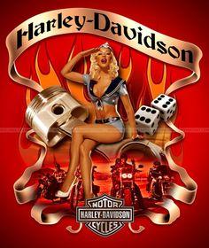 Pin-up Harley Davidson Harley Davidson Logo, Harley Davidson Kunst, Harley Davidson Pictures, Motor Harley Davidson Cycles, Harley Davidson Motorcycles, Harley Bobber, Motorcycle Art, Bike Art, Modelos Pin Up